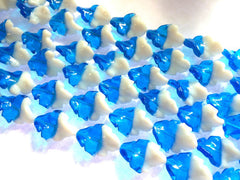 Glass Leaf Bead, Blue Bead, White Bead, Blue & White bead, fall bead, glass beads, bangle beads, blue glass beads, white glass, 31x22mm