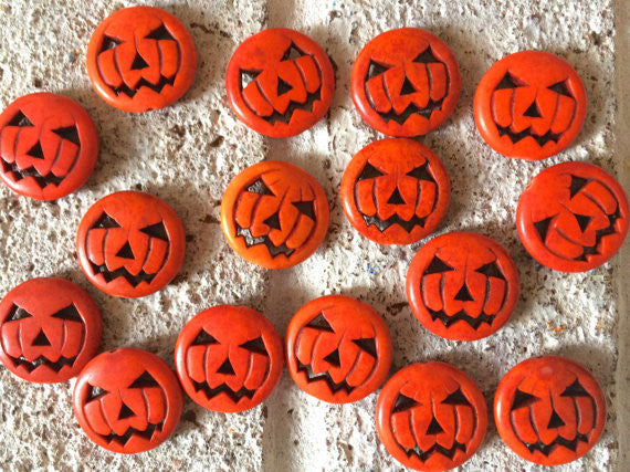 Halloween beads, pumpkin beads, jack o lantern beads, halloween jewelry big orange beads, chunky craft supplies for wire bangle or jewelry