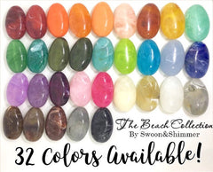 Black Beads, 32mm Oval Gemstone Beads, The acrylic chunky craft supplies for wire bangle or jewelry making, statement necklace, round colorful beads, The Beach Collection,