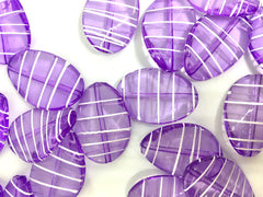 Light PURPLE Beads, striped beads, oval 36mm Large colorful acrylic beads, bangle or jewelry making, Lavender Lilac beads, purple necklace, purple bracelet