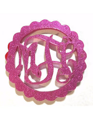 Pink Glitter - 1.5 Inch Monogram - 2 Hole Acrylic Script Plaques - Wire Bangle Bracelet - Personalized Bracelet Necklace Jewelry