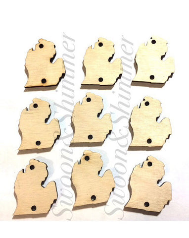 NEW! 1.5 Inch Two Hole Michigan Blanks in natural wood - ideal for wire bangle bracelets and jewelry making, michigan jewelry, state beads