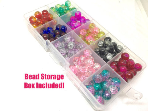 Bead Kit, 10 color crackle bead set, 8mm crackle beads, bead organizer, bead box, bangle beads, jewelry making, rainbow beads