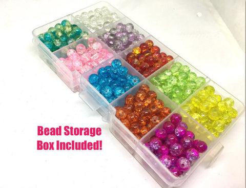 Bead Kit, 10 color crackle bead set, 6mm crackle beads, bead organizer, bead box, bangle beads, jewelry making, rainbow beads