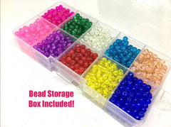 Bead Kit, 10 color crackle bead set, 4mm crackle beads, bead organizer, bead box, bangle beads, jewelry making, rainbow beads