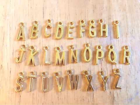 Your Choice! Gold Letter Charms, wine charms, charms for jewery making, silve charms, alphabet charms, name jewelry, monogram jewelry