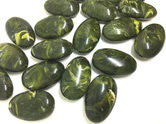 Green Beads, Olive Beads, 32mm Oval Gemstone Beads, The acrylic chunky craft supplies for wire bangle or jewelry making, statement necklace, round colorful beads, The Beach Collection,