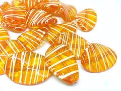 Orange Oval Beads handpainted with white stripes, 36mm bangle, statement necklace, orange beads, orange beads, tiger beads, bangle beads