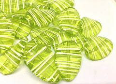 Lime Green Oval Beads handpainted with white stripes, 36mm bangle, statement necklace, orange beads, orange beads, green beads, bangle bead, striped bead