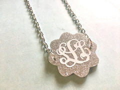 Monogram Flower Frame Bead, 2 hole acrylic disc, monogram gift, monogam jewelry, monogram bracelet, monogram necklace, acrylic blanks