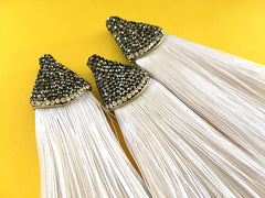 White Tassels, tassel earrings, Bejeweled Tassels, 3.25 Inch 85mm Tassel, white jewelry, tassel necklace, white necklace, silk tassel