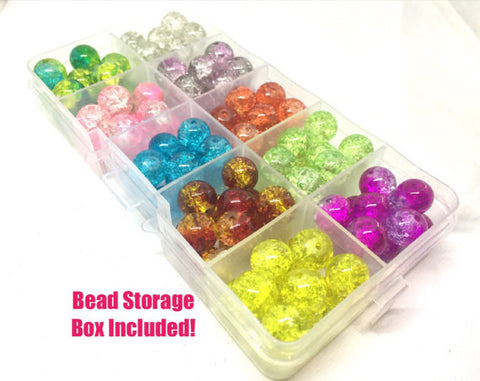 Bead Kit, 10 color crackle bead set, 10mm crackle beads, bead organizer, bead box, bangle beads, jewelry making, rainbow beads