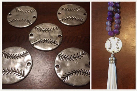Hammered Metal Baseball connector Beads, silver bangle bead, baseball mom, baseball jewelry, baseball cap jersey, baseball bracelet