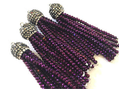 Purple Beaded Tassels, dark purple tassels, rhinestone dipped blue bead tassels, tassel necklace, tassel earrings, purple tassel beaded bead