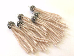 Champagne Beaded Tassels, cream tassels, rhinestone dipped cream bead tassels, tassel necklace, tassel earrings, off white tassel beaded