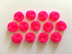 12mm Druzy Cabochons, Neon Pink, jewelry making kit, earring set, diy jewelry, druzy studs, 12mm Druzy, cabochon, stud earrings, pink