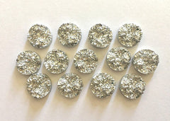 12mm Druzy Cabochons, Silver Glitter, jewelry making kit, earring set, diy jewelry, druzy studs, 12mm Druzy, cabochon, stud earrings
