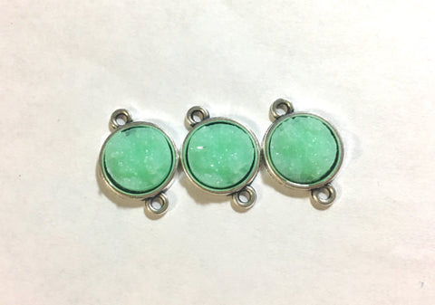 Mint Beads with 2 Holes, Faux Druzy Connector Beads, mint druzy, druzy bracelet, druzy bangle, mint bracelet, mint jewelry, mint green beads