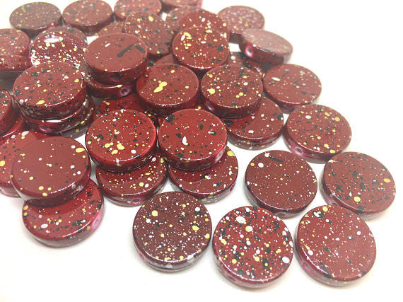 Maroon Red Beads, painted Beads, 20mm Beads, circular acrylic beads, bracelet necklace earrings, jewelry making, bangle beads, red necklace