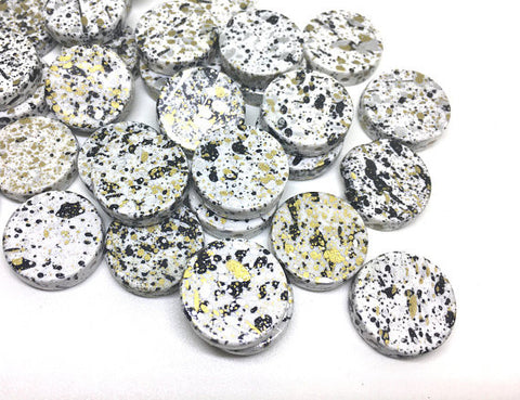 White Black Gold Beads, painted Beads, 20mm Beads, circular acrylic beads, bracelet necklace earrings, jewelry making, bangle beads, white