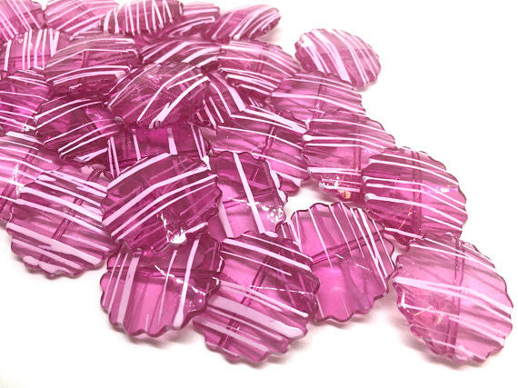 Pink Striped Flower Beads, 25mm beads, pink beads, striped print, pink necklace, pink jewelry, flower beads, pink acrylic beads, round beads