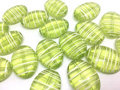 Green & White Oval 33mm beads, green beads, striped beads, lime green beads, craft supplies, wire bangle, jewelry making, statement necklace