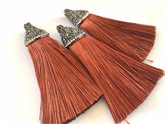 Chocolate Tassels, tassel earrings, Bejeweled Tassels, 3.25 Inch 85mm Tassel, brown jewelry, tassel necklace, brown necklace, silk tassel