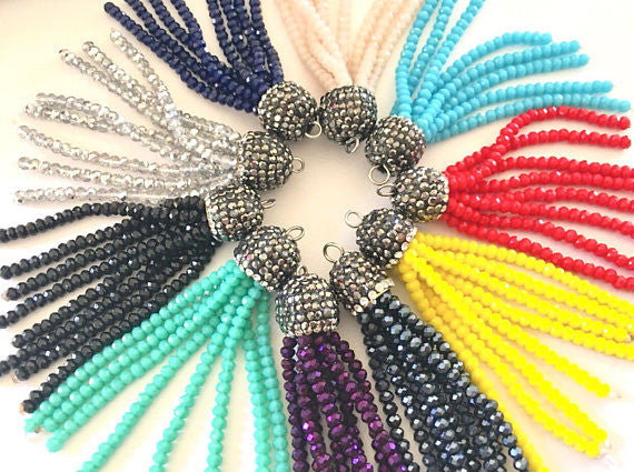Beaded Tassels, rhinestone tassels, rhinestone dipped colorful bead tassels, tassel necklace, tassel earrings, rainbow tassel, beaded jewelry