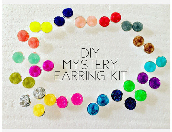 DIY Mystery Druzy Earring Kit, 60 Piece Kit, Stud earrings, druzy earrings, colorful earrings, jewelry making, druzy jewelry, silver 12mm