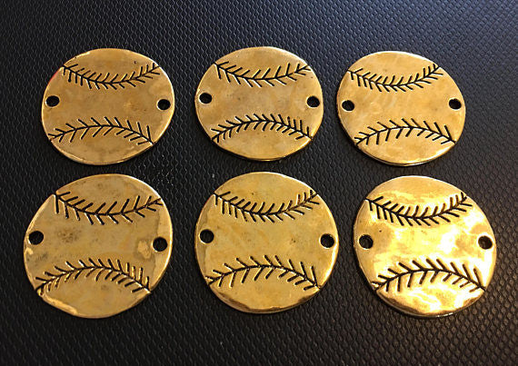 Hammered Metal Baseball connector Beads, gold bangle bead, baseball mom, baseball jewelry, baseball cap jersey, baseball bracelet, gold bead