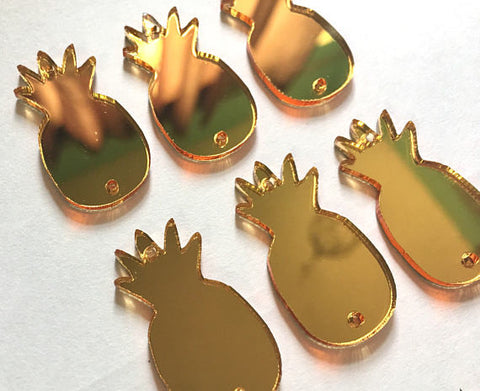 Pineapple Beads, 2 hole acrylic blanks, bangle making beads, acrylic cut outs, pineapple bracelet, pineapple jewelry, gold pineapples, gold