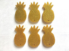 Glitter Pineapple Beads, 2 hole acrylic blanks, bangle making beads, acrylic cut outs, pineapple bracelet, pineapple jewelry, gold pineapple