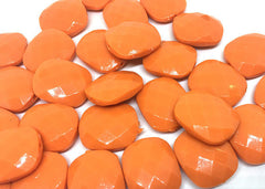 Orange Cushion Cut beads, orange 25mm Beads, Rectangle Beads, Oval Beads, Bangle Beads, Bracelet Beads, necklace beads, bangle beads