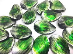 Large Green Sunburst Beads, oval beads, green painted beads, green and silver beads, green bracelet, green jewelry, green necklace, silver
