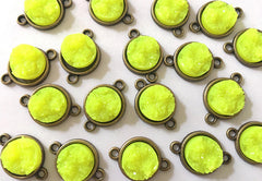 Neon Yellow Druzy Beads with 2 Holes, Faux Druzy Connector Beads, yellow druzy, druzy bracelet, druzy bangle, yellow bracelet, yellow, gold