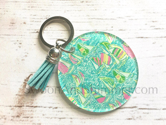 Sailboats Acrylic Blanks, 2.5 Inch Circles 1 Hole, tassel Keychain blanks, blank acrylics, circle keychains, monogram keychain, pink blue