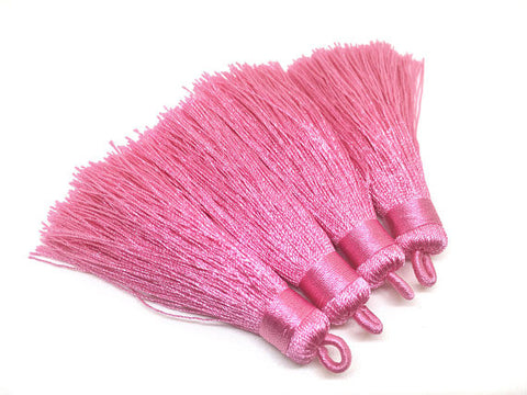 Pink Tassels, tassel earrings, Silk Tassels, 3 Inch 80mm Tassel, pink jewelry, tassel necklace, pink necklace, long pink tassel