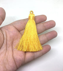Yellow Tassels, tassel earrings, Silk Tassels, 3 Inch 80mm Tassel, yellow jewelry, tassel necklace, yellow necklace, long yellow tassel