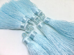 Powder Blue Tassels, tassel earrings, Silk Tassels, 3 Inch 80mm Tassel, blue jewelry, tassel necklace, navy necklace, long light blue tassel