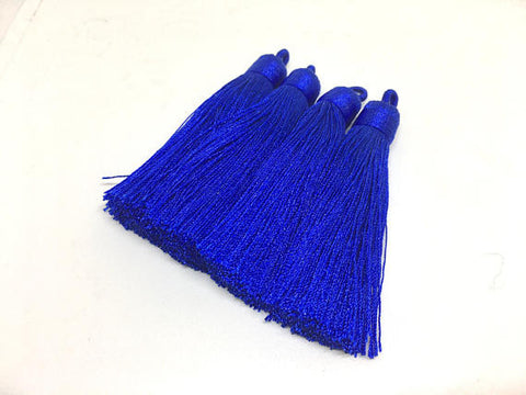 Royal Blue Tassels, tassel earrings, Silk Tassels, 3 Inch 80mm Tassel, blue jewelry, tassel necklace, blue necklace, royal blue jewelry