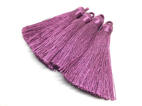 Dusty Rose Tassels, tassel earrings, Silk Tassels, 3 Inch 80mm Tassel, pink jewelry, tassel necklace, rose pink necklace, rose tassel, pink