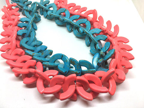"Coral Turquoise 15"" Strand of Howlite Beads, Half Moon shaped beads, chunky necklace, sttaement necklace, coral or turquoise beads"