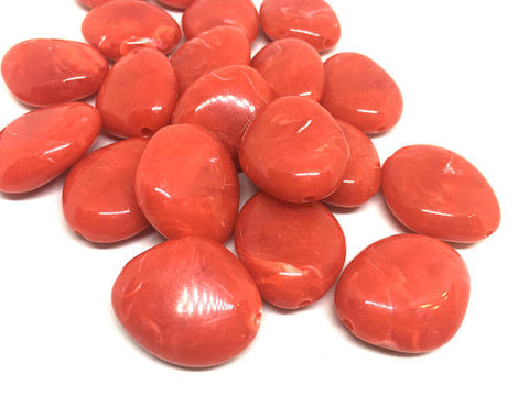 Atomic Orange Reddish Orange 31mm acrylic beads, chunky statement necklace, wire bangle, jewelry making, QUEEN Collection, oval beads, large