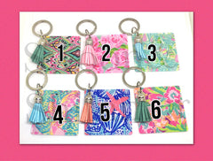 Acrylic Blanks, 2.25 Inch Square with 1 Hole, tassel Keychain blanks, blank acrylics, square keychains, monogram keychain, monogram gifts - PLEASE LEAVE KEYCHAIN COLOR CHOICE AT CHECKOUT