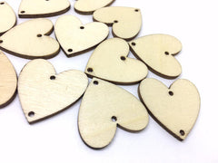 30mm Wood heart Blanks, Jewelry Making, Necklace bracelets, Earrings Making, Statement Necklaces, wood squares, wood blanks, 2 hole blanks
