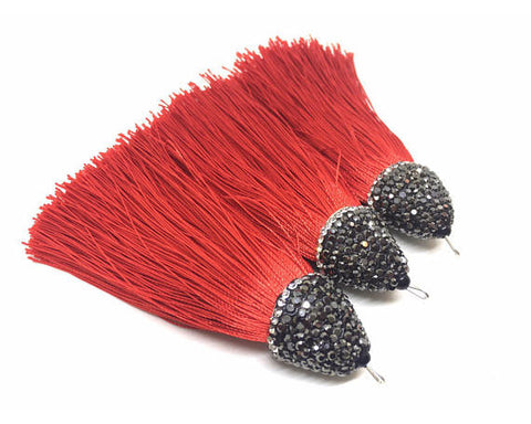 Tomato Red Tassels, tassel earrings, Bejeweled Tassels, 3.25 Inch 85mm Tassel, red jewelry, tassel necklace, red necklace, red silk tassel
