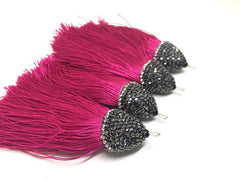 Pink Tassels, tassel earrings, Bejeweled Tassels, 3.25 Inch 85mm Tassel, pink jewelry, tassel necklace, pink necklace, pink tassel keychain