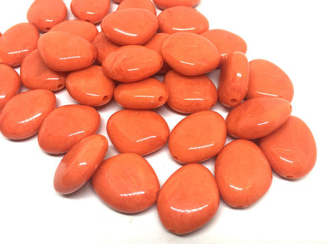 Orange Beads, The Princess Collection, 25mm Beads, big acrylic beads, bracelet necklace earrings, jewelry making, orange jewelry bangle