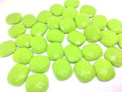 Lime Green Cushion Cut beads, green 25mm Beads, Rectangle Beads, Oval Beads, Bangle Beads, Bracelet Beads, necklace beads, bangle beads