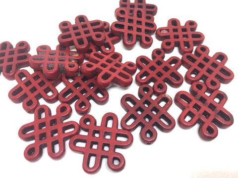 Red Chinese Knot Beads, 28mm beads, acrylic beads, red beads, bracelet necklace earrings, jewelry making, red bracelet, red jewelry